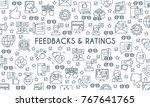 feedbacks and ratings banner.... | Shutterstock .eps vector #767641765