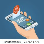 mobile marketing isometric... | Shutterstock .eps vector #767641771