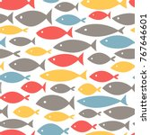 small colorful fishes on white... | Shutterstock .eps vector #767646601
