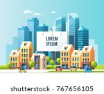 a big city billboard for... | Shutterstock .eps vector #767656105