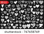 hearts vector set. hand drawn... | Shutterstock .eps vector #767658769