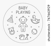 baby playing vector infographic ... | Shutterstock .eps vector #767663929
