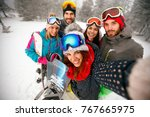 smiling friends having fun on... | Shutterstock . vector #767665975