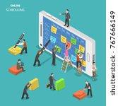 online schedule flat isometric... | Shutterstock .eps vector #767666149