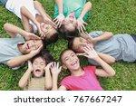 portrait of six children having ... | Shutterstock . vector #767667247