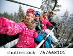 skiing  ski lift  ski resort  ... | Shutterstock . vector #767668105