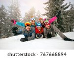 friends on winter holidays    ... | Shutterstock . vector #767668894