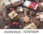christmas gift  decorated... | Shutterstock . vector #767670049
