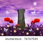 fantasy background with tree... | Shutterstock . vector #76767034