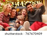 selfie with smiling family on... | Shutterstock . vector #767670409