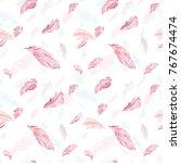 elegant feather vector pattern... | Shutterstock .eps vector #767674474