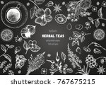 herbal tea shop frame vector... | Shutterstock .eps vector #767675215
