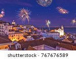 fireworks above the district... | Shutterstock . vector #767676589