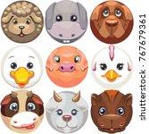 set of cartoon vector icons of... | Shutterstock .eps vector #767679361