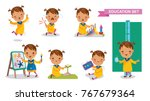 preschoolers of education set.... | Shutterstock .eps vector #767679364