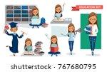 student women of education set....   Shutterstock .eps vector #767680795