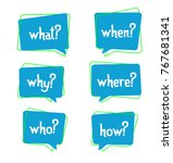 Set Of 5 Ask W Words In Bubbles ...