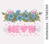 cute cat with floral wreath.... | Shutterstock .eps vector #767682265