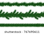 christmas garland with fir... | Shutterstock .eps vector #767690611