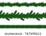 christmas garland with fir... | Shutterstock .eps vector #767690611