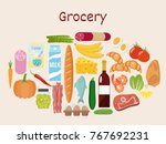 grocery set. milk  vegetables ... | Shutterstock .eps vector #767692231