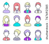 set of linear avatars. simple... | Shutterstock .eps vector #767692585