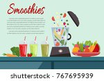cooking smoothies. plate full... | Shutterstock .eps vector #767695939
