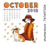 October. 2018 Calendar. Cute...