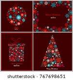 ornate winter holidays greeting ... | Shutterstock .eps vector #767698651