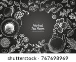 herbal tea shop frame vector... | Shutterstock .eps vector #767698969