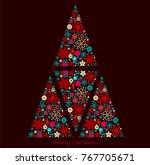 christmas card design in dark...   Shutterstock .eps vector #767705671