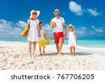 happy beautiful family with... | Shutterstock . vector #767706205