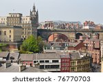 View of central Newcastle from Gateshead including clock tower and rail bridge - stock photo