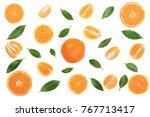 orange or tangerine with mint... | Shutterstock . vector #767713417
