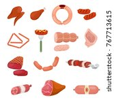 meat products and raw meat. set | Shutterstock .eps vector #767713615