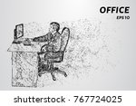 the man behind the computer.... | Shutterstock .eps vector #767724025