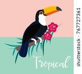 image of bright tropical bird.    Shutterstock .eps vector #767727361
