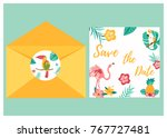 tropical invitation card with... | Shutterstock .eps vector #767727481