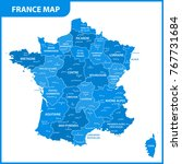 the detailed map of the france... | Shutterstock .eps vector #767731684