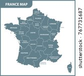 the detailed map of the france...   Shutterstock .eps vector #767731687