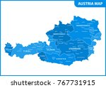the detailed map of the austria ... | Shutterstock .eps vector #767731915