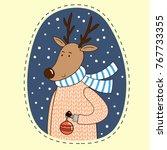 cute cartoon deer in a sweater... | Shutterstock .eps vector #767733355