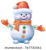 smiling snowman in red hat and... | Shutterstock .eps vector #767733361