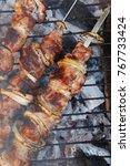 fresh beef meat kebab on... | Shutterstock . vector #767733424