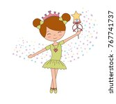 ballet little girl dancing with ... | Shutterstock .eps vector #767741737