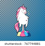 cute fat unicorn farting... | Shutterstock .eps vector #767744881