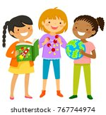 curious girls interested in... | Shutterstock . vector #767744974