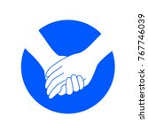 holding hands on blue circle....   Shutterstock .eps vector #767746039