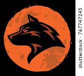 wolf and moon logo template... | Shutterstock .eps vector #767747245
