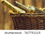 Wine Bottles In Picnic Basket...
